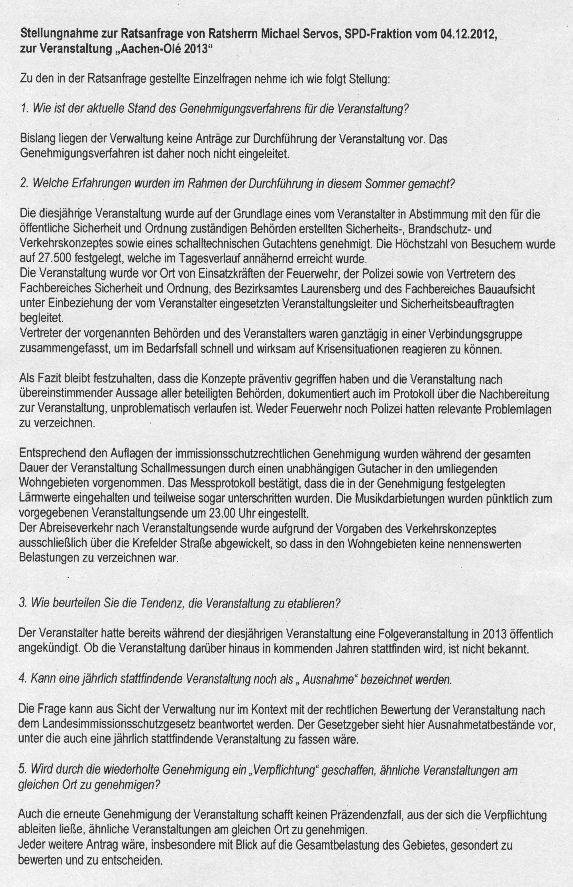Aachen Olé II bisher nicht genehmigt